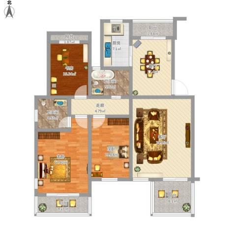 立信帝海观澜3室2厅2卫1厨161.00㎡户型图