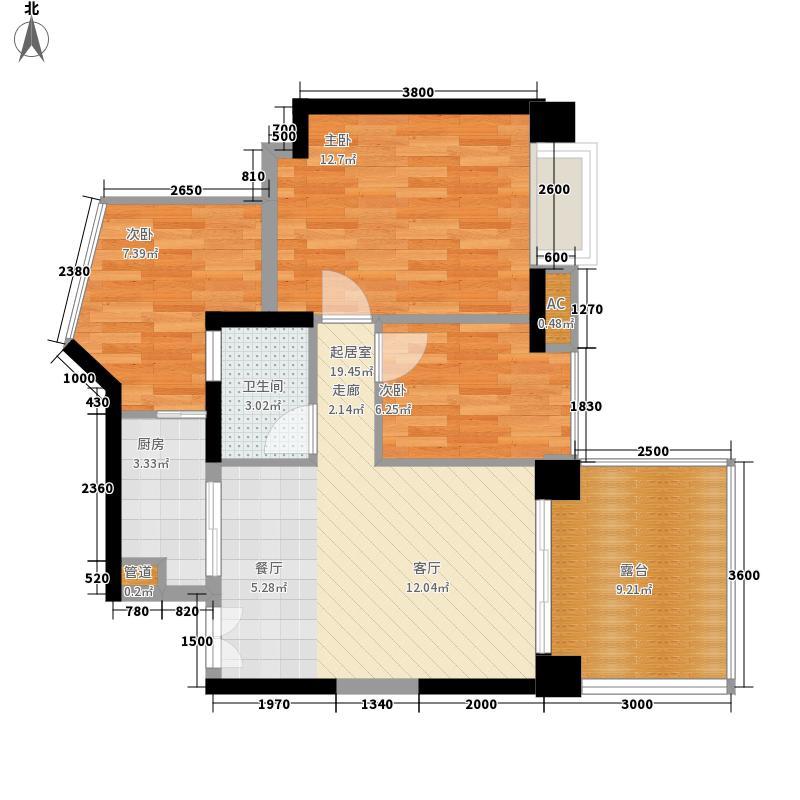 康达尔蝴蝶堡65.31㎡康达尔蝴蝶堡户型图2C-C奇数层2室2厅1卫户型2室2厅1卫