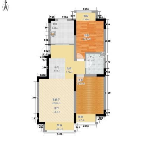 融创上城2室1厅1卫1厨88.00㎡户型图