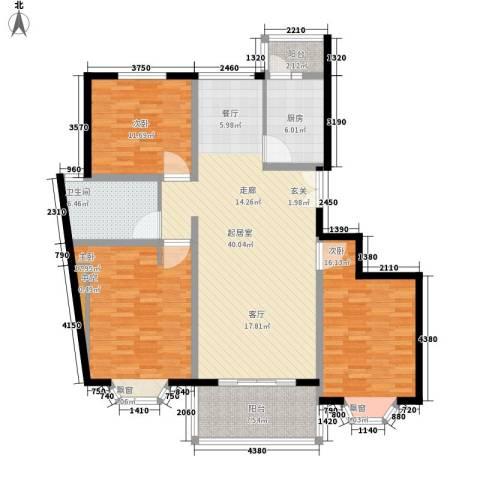 宏润公寓3室0厅1卫1厨123.00㎡户型图