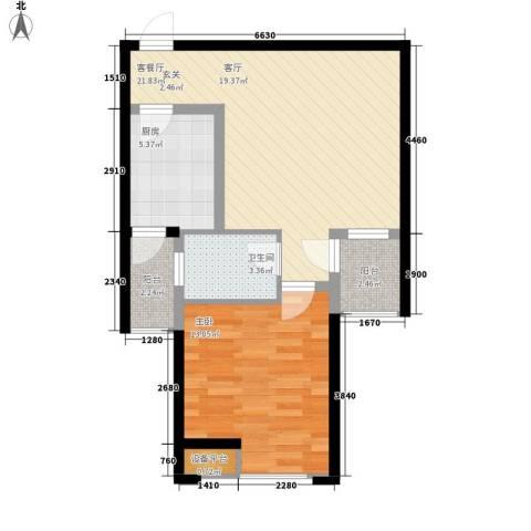 海悦国际1室1厅1卫1厨58.00㎡户型图
