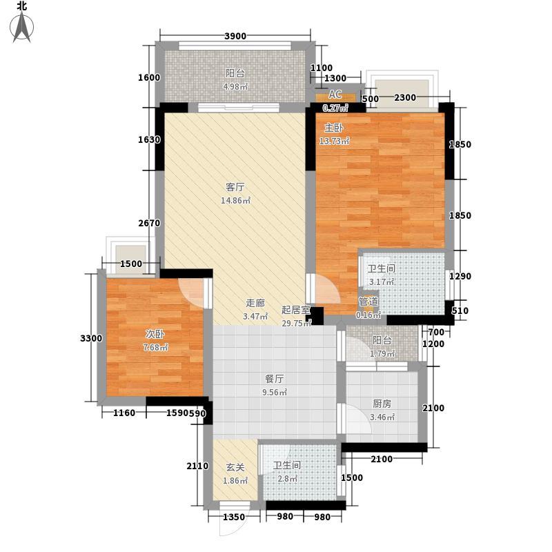 水木香山一期高层B3户型2室2厅