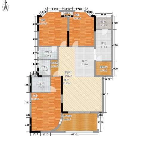 世纪绿洲二期3室1厅3卫1厨166.00㎡户型图