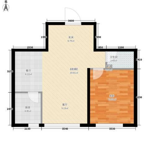 金达莱家园1室0厅1卫1厨59.00㎡户型图