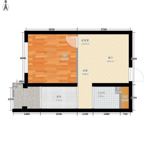 波尔的家1室0厅1卫1厨51.00㎡户型图