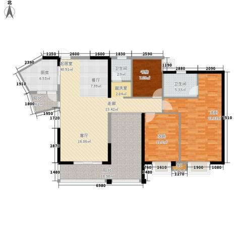 卧龙湾3室0厅2卫1厨145.00㎡户型图