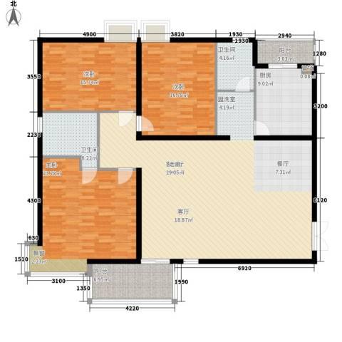 齐鲁世纪园3室1厅2卫1厨163.00㎡户型图