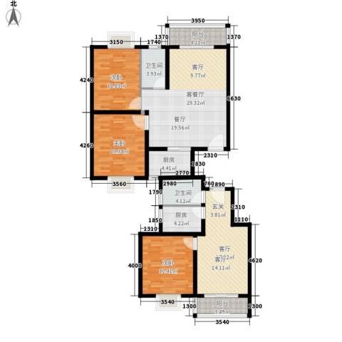 嘉兴青年新城3室2厅2卫2厨157.00㎡户型图