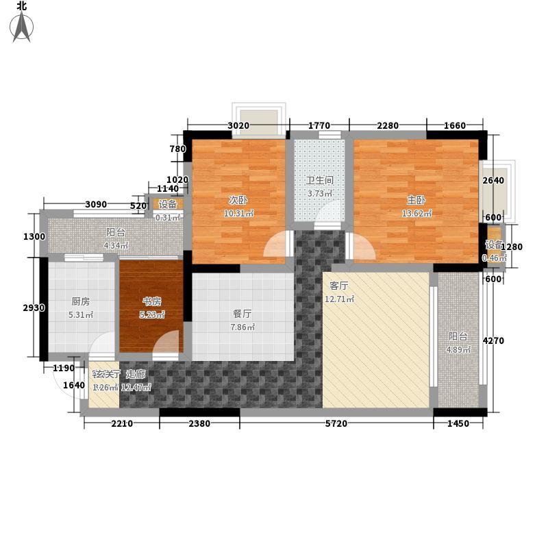 明发尚都国际88.04㎡二期3号楼标面积8804m户型