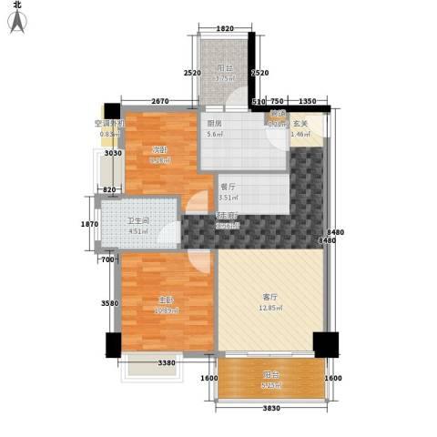 尚领时代2室1厅1卫1厨73.00㎡户型图