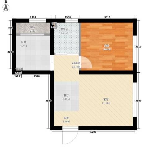 波尔的家1室0厅1卫1厨55.00㎡户型图