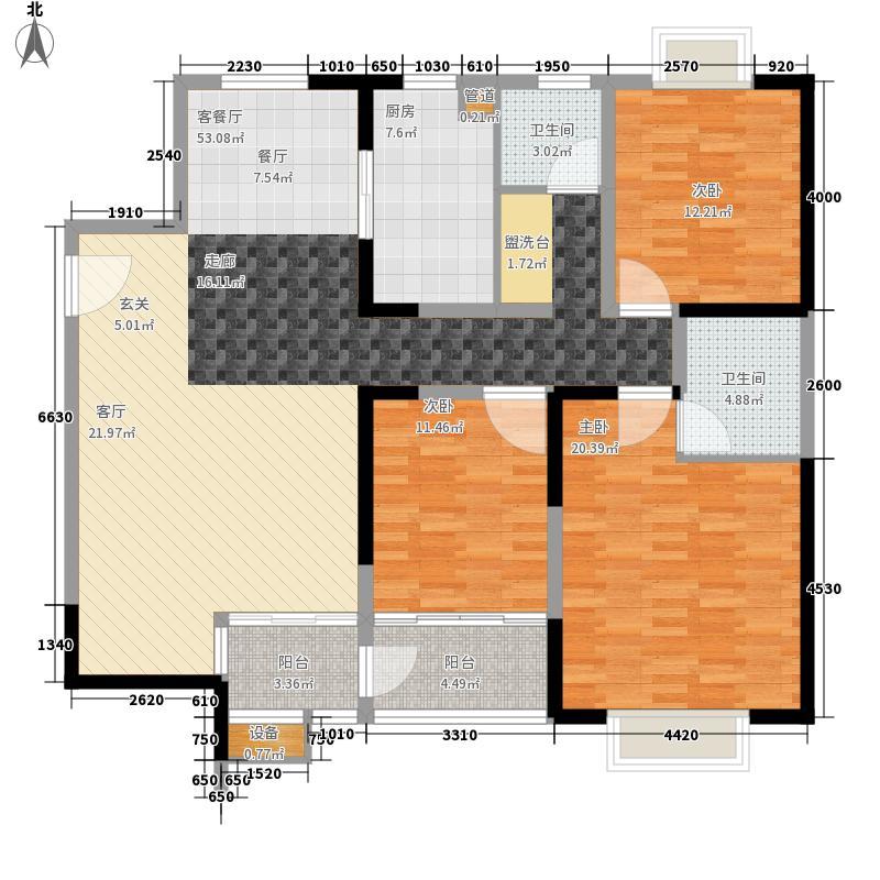 亚星盛世138.25㎡3A-1户型3室2厅