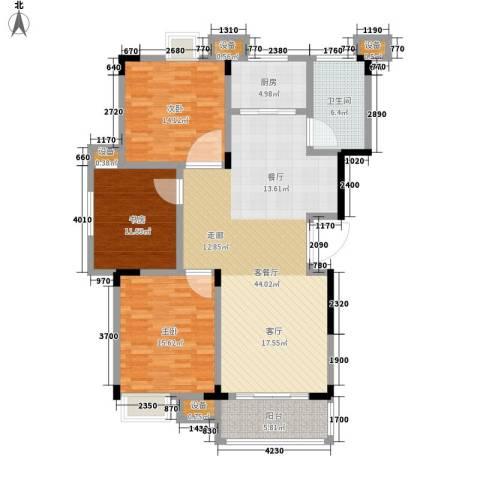 清华苑3室1厅1卫1厨120.00㎡户型图