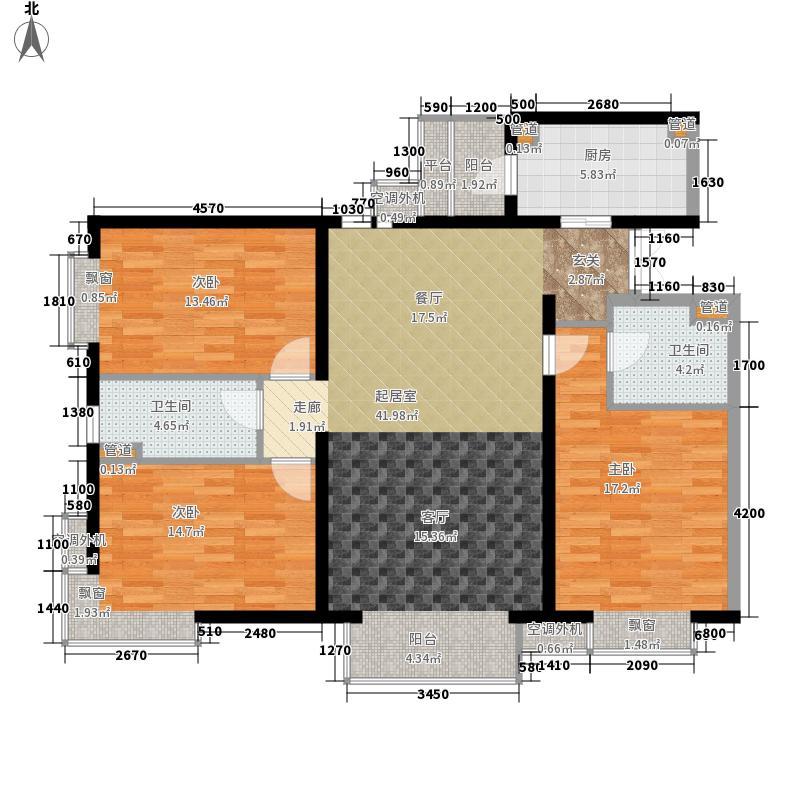 米罗公元116.68㎡3号楼E型户型3室1厅2卫1厨