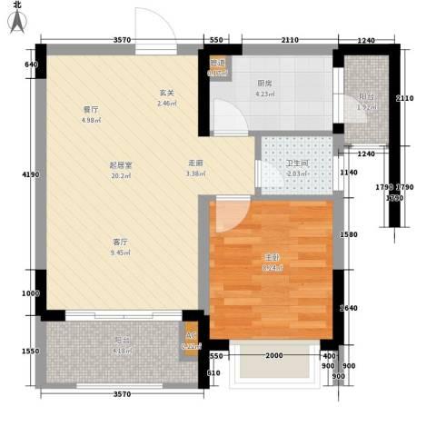 亚热带雅居1室0厅1卫1厨44.00㎡户型图