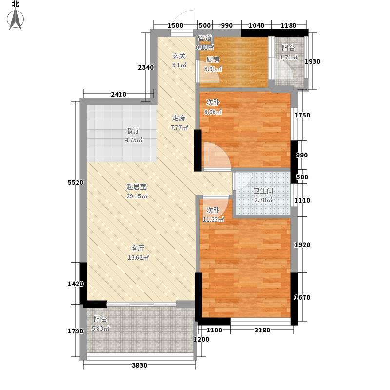 蓝海银湾81.27㎡3#一二单元03、二三单元022室户型
