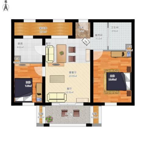 百盛花园2室1厅1卫1厨94.00㎡户型图
