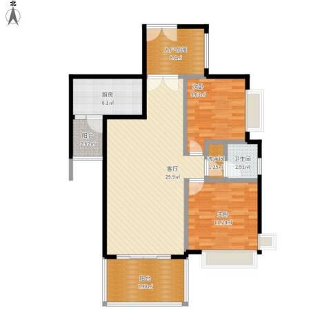 仁和春天国际花园2室1厅1卫1厨110.00㎡户型图