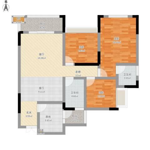 富悦新城3室1厅2卫1厨124.00㎡户型图