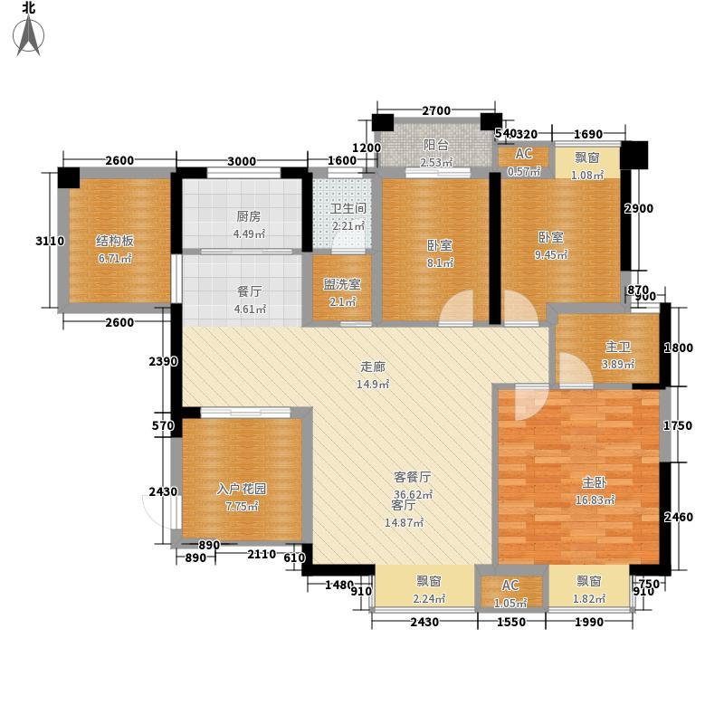 爵士湘二期114.69㎡2号栋B-4户型3室2厅2卫1厨