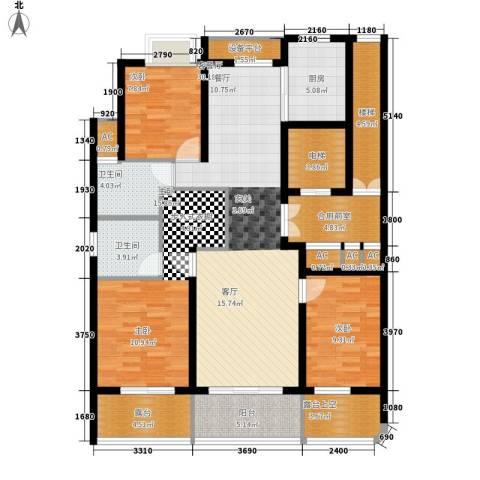 米兰公寓3室1厅2卫1厨126.00㎡户型图