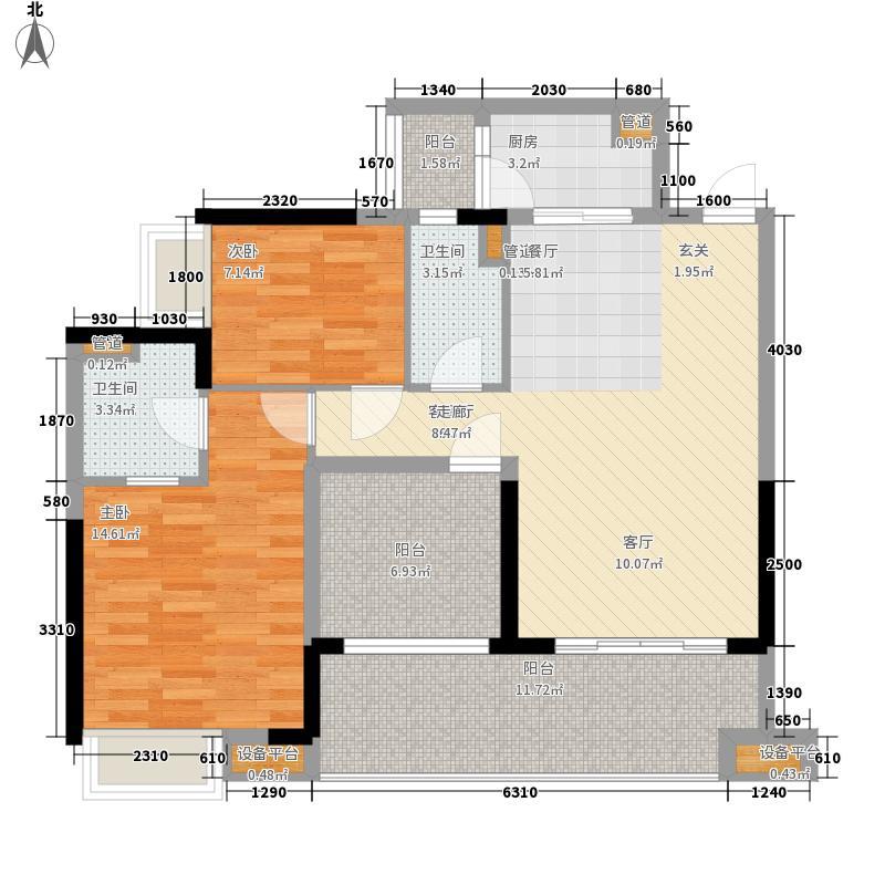 中泰峰境99.00㎡中泰峰境户型图D2单元02户型2室2厅2卫1厨户型2室2厅2卫1厨