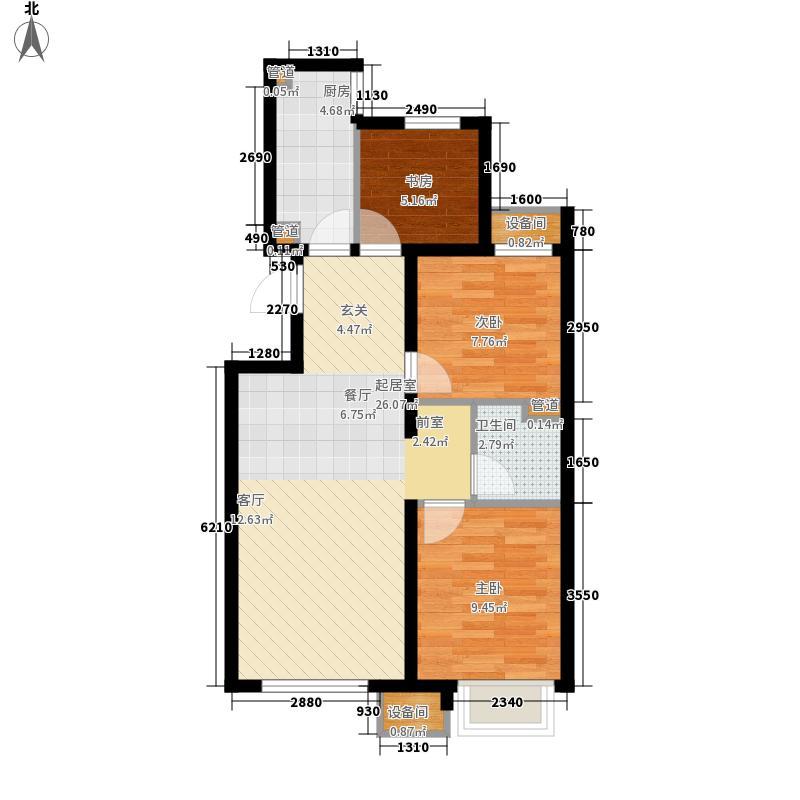 燕郊孔雀城87.00㎡C户型3室2厅1卫1厨