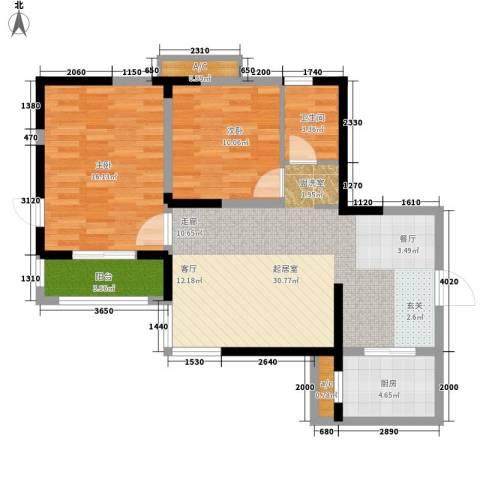 莱茵小城2室0厅1卫1厨88.00㎡户型图