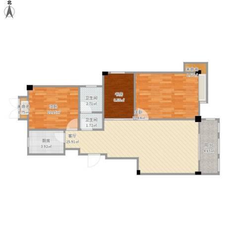 御景豪庭3室1厅2卫1厨98.00㎡户型图