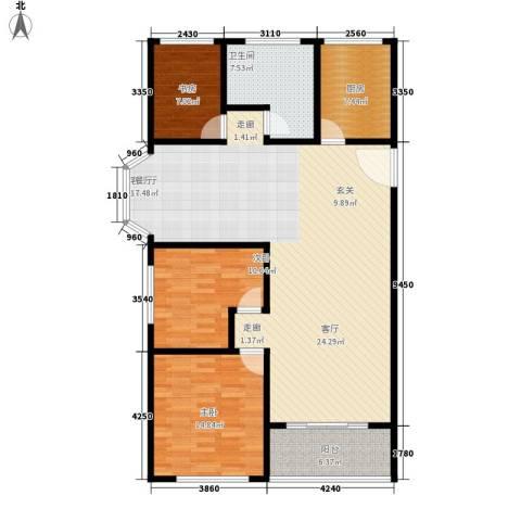 卢湾都市花园3室1厅1卫1厨126.00㎡户型图