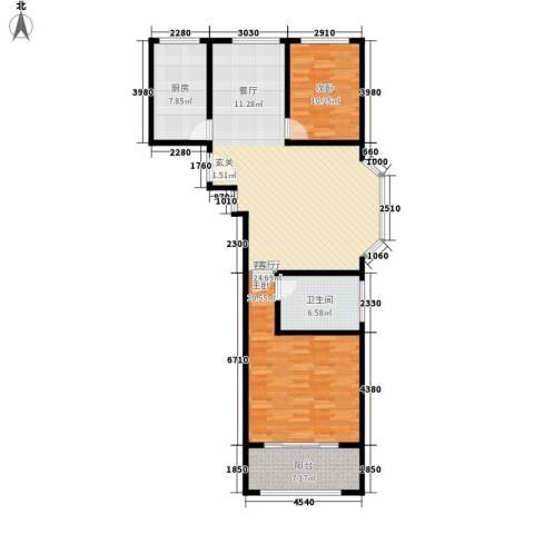 卢湾都市花园2室1厅1卫1厨101.00㎡户型图