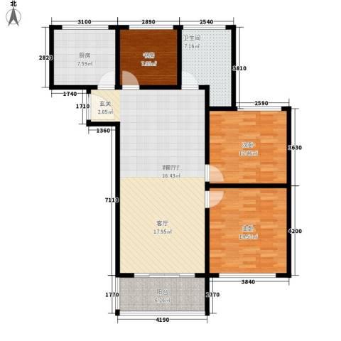 卢湾都市花园3室1厅1卫1厨107.00㎡户型图