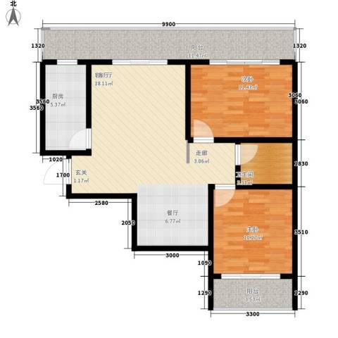 易居・山水豪庭项目2室1厅1卫1厨99.00㎡户型图