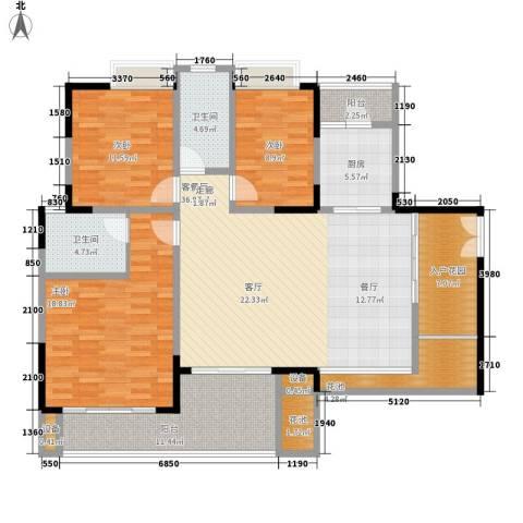天一名居3室1厅2卫1厨129.00㎡户型图