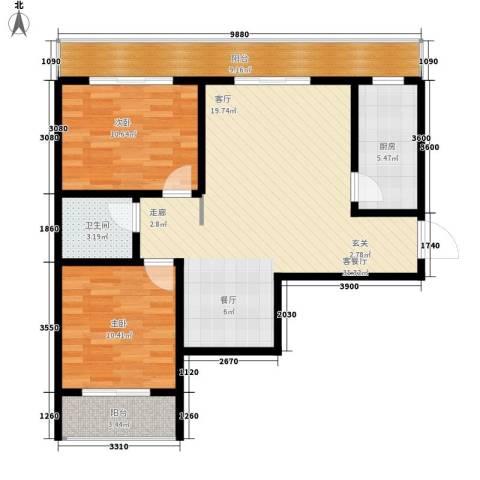 易居・山水豪庭项目2室1厅1卫1厨100.00㎡户型图