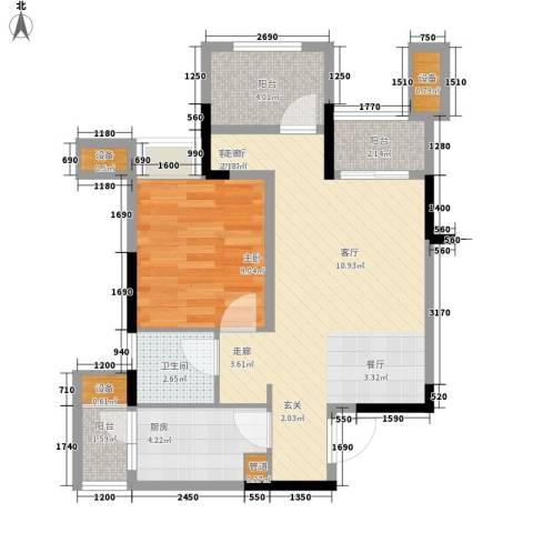 重庆巴南万达广场1室1厅1卫1厨63.00㎡户型图