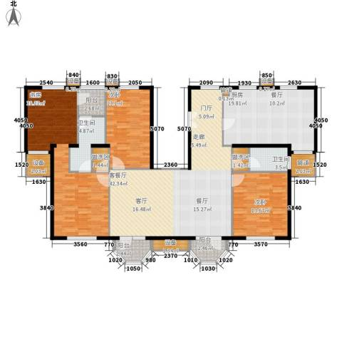 中海城圣朝菲3室1厅2卫1厨187.00㎡户型图