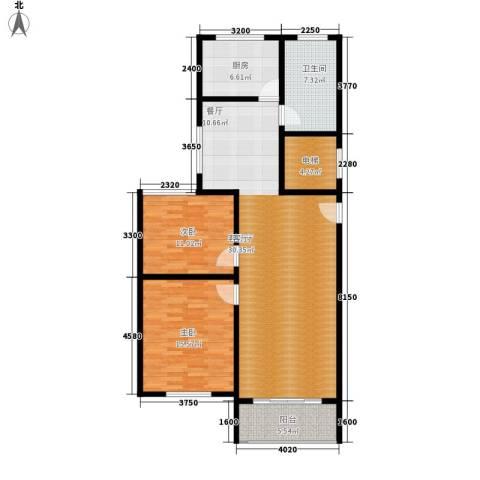 卢湾都市花园2室1厅1卫1厨102.00㎡户型图
