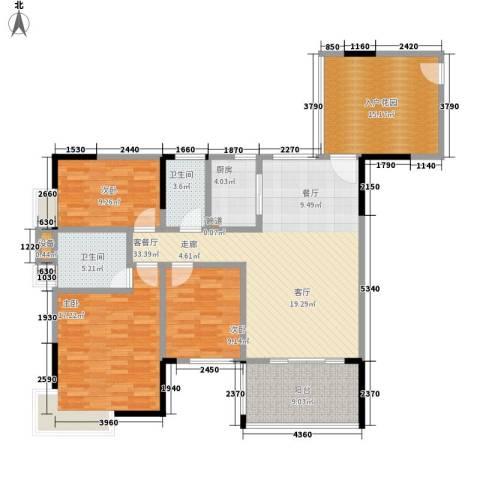 天一名居3室1厅2卫1厨122.00㎡户型图