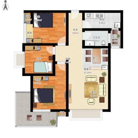 曲江诸子阶3室1厅1卫1厨120.00㎡户型图