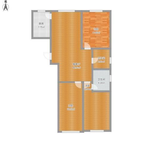 世纪嘉园3室1厅2卫1厨164.00㎡户型图
