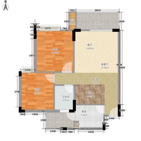新世界花园2室1厅1卫1厨77.00㎡户型图