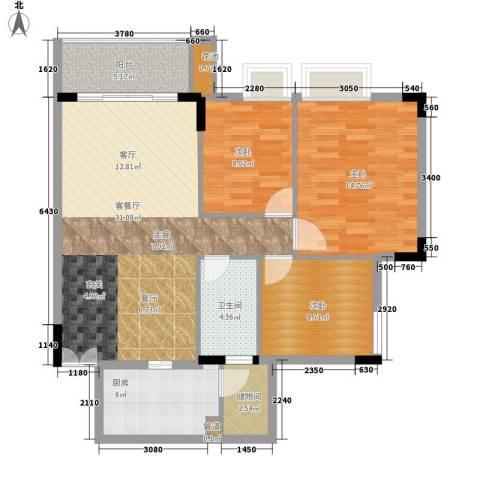 新世界花园3室1厅1卫1厨91.00㎡户型图