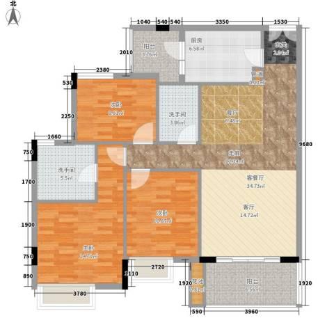 新世界花园3室1厅0卫1厨107.00㎡户型图