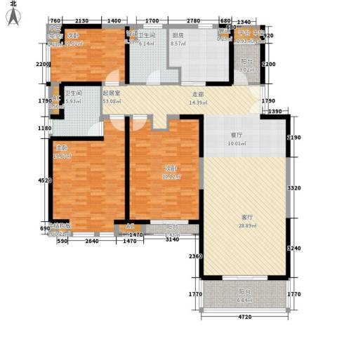 金月湾花园3室0厅2卫1厨157.00㎡户型图
