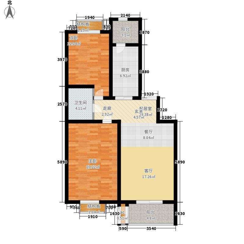 加拿大枫林园5.67㎡C户型2室2厅1卫1厨