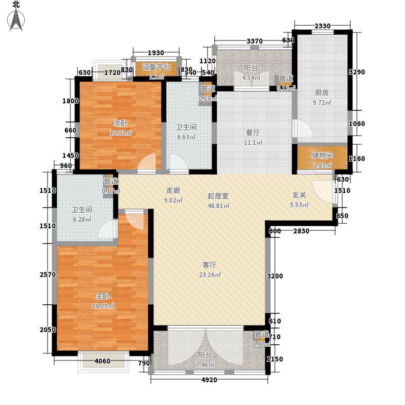 徐汇苑134.00㎡徐汇苑户型图D3楼K户型2室2厅户型2室2厅