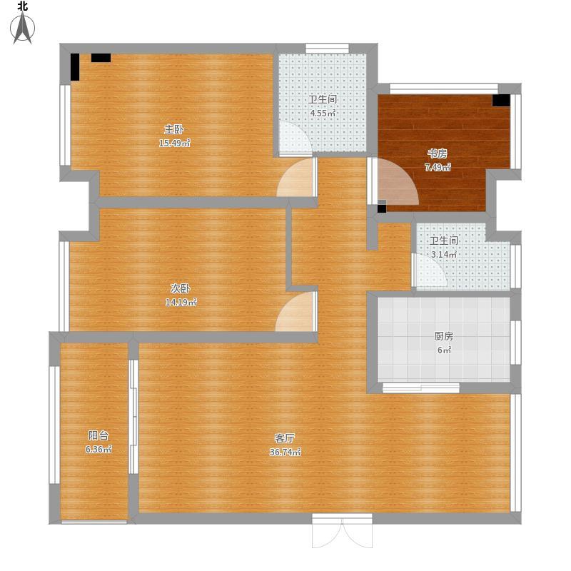 宜化山语城120平米三室两厅两卫