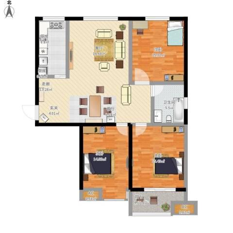 御龙湾3室1厅1卫2厨148.00㎡户型图