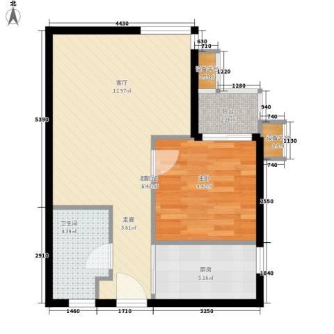 博客雅居1室0厅1卫1厨66.00㎡户型图